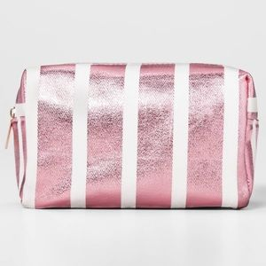New gold rose striped cosmetic bag